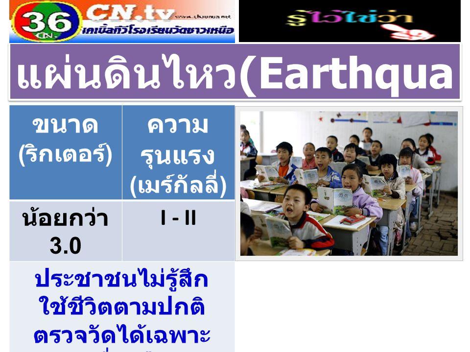 แผ่นดินไหว (Earthqua ke) ขนาด ( ริกเตอร์ ) ความ รุนแรง ( เมร์กัลลี่ ) น้อยกว่า 3.0 I - II ประชาชนไม่รู้สึก ใช้ชีวิตตามปกติ ตรวจวัดได้เฉพาะ เครื่องมือ