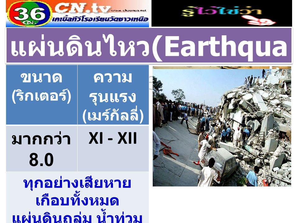 แผ่นดินไหว (Earthqua ke) ขนาด ( ริกเตอร์ ) ความ รุนแรง ( เมร์กัลลี่ ) มากกว่า 8.0 XI - XII ทุกอย่างเสียหาย เกือบทั้งหมด แผ่นดินถล่ม น้ำท่วม พื้นดินเคลื่อนตัวเป็น ลูกคลื่น
