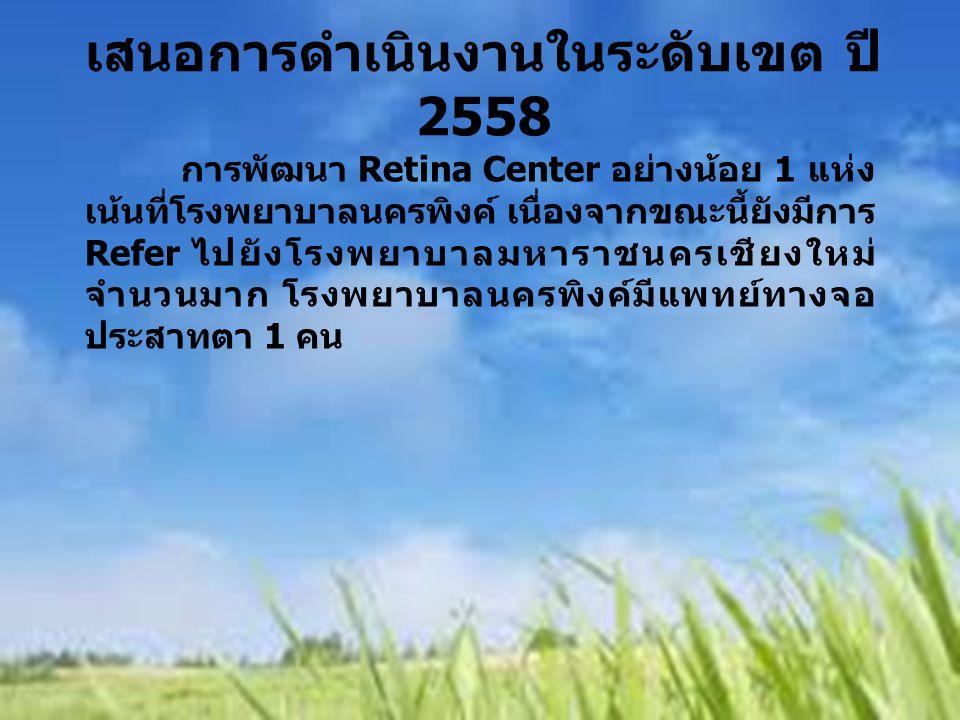 การพัฒนา Retina Center อย่างน้อย 1 แห่ง เน้นที่โรงพยาบาลนครพิงค์ เนื่องจากขณะนี้ยังมีการ Refer ไปยังโรงพยาบาลมหาราชนครเชียงใหม่ จำนวนมาก โรงพยาบาลนครพ