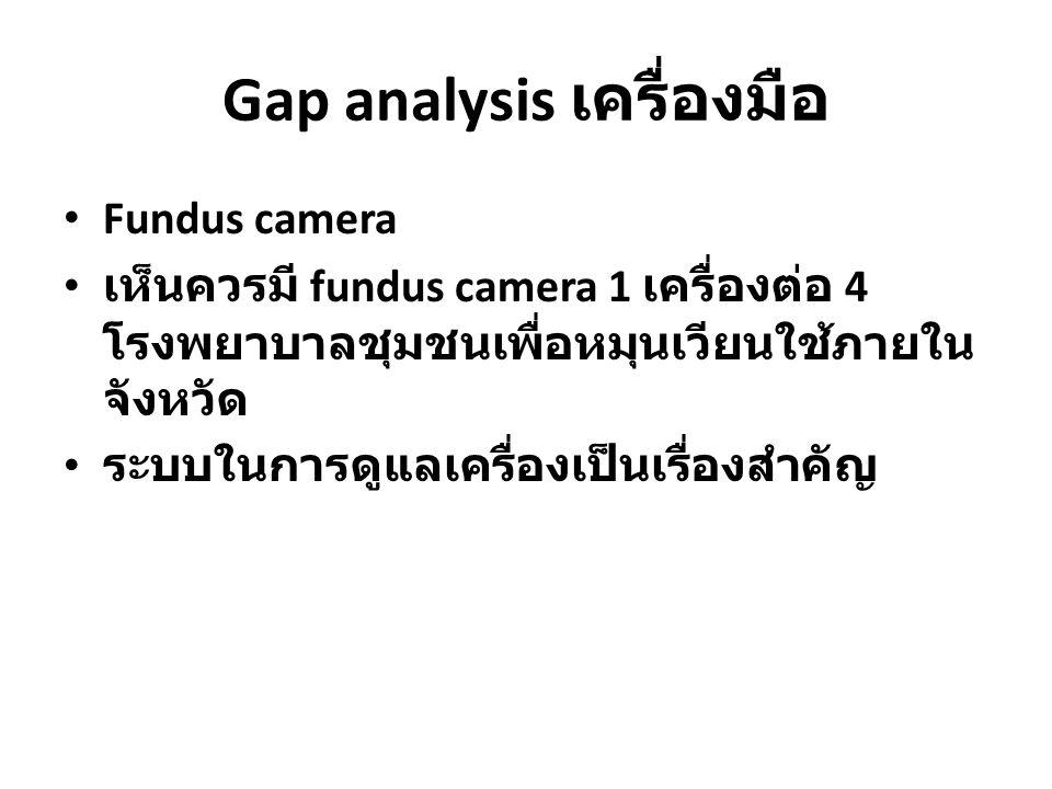 Gap analysis เครื่องมือ Fundus camera เห็นควรมี fundus camera 1 เครื่องต่อ 4 โรงพยาบาลชุมชนเพื่อหมุนเวียนใช้ภายใน จังหวัด ระบบในการดูแลเครื่องเป็นเรื่