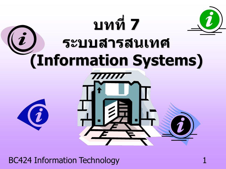 BC424 Information Technology11 ระบบสนับสนุนการตัดสินใจ (Decision Support Systems : DSS) พัฒนาขึ้นจากระบบ MIS เป็นระบบที่สนับสนุนความต้องการเฉพาะ ของผู้บริหารแต่ละคน (Made by order) ช่วยตัดสินใจในกรณีที่มีทางเลือกหลาย ๆ ทาง มีการใช้ตัวแบบ (Model) ในการวางแผน และการทำนาย ใช้งานในระดับผู้บริหารระดับบน (Top Manager) และระดับกลาง (Middle Manager)