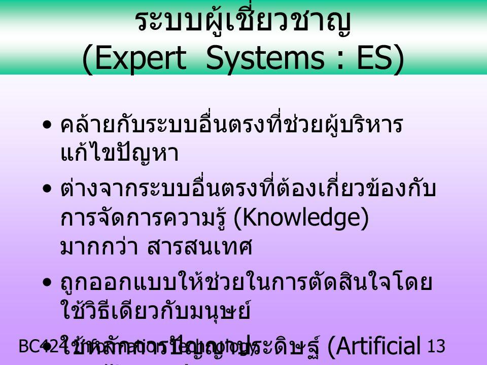 BC424 Information Technology12 ระบบสนับสนุนผู้บริหาร (Executive Information Systems : EIS) สร้างขึ้นเพื่อสนับสนุนสารสนเทศและ การตัดสินใจสำหรับผู้บริหา