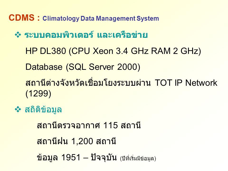 ระบบคอมพิวเตอร์ และเครือข่าย HP DL380 (CPU Xeon 3.4 GHz RAM 2 GHz) Database (SQL Server 2000) สถานีต่างจังหวัดเชื่อมโยงระบบผ่าน TOT IP Network (1299