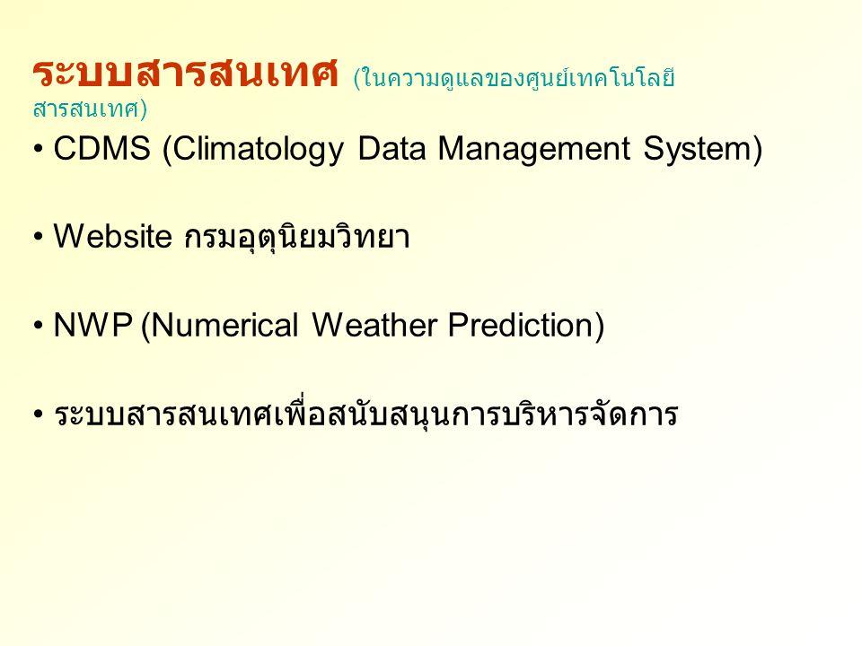 CDMS : Climatology Data Management System  System Function  e-Observation บันทึกผลการตรวจอากาศจาก สถานี  e-Service ให้บริการสารสนเทศด้านภูมิอากาศ  ระบบสารสนเทศข้อมูลภาพเรดาห์และดาวเทียม  ระบบสนับสนุนการดำเนินงานของจังหวัดและ องค์การปกครองส่วนท้องถิ่น  ระบบสนับสนุนการพยากรณ์