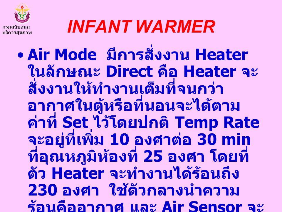INFANT WARMER Air Mode มีการสั่งงาน Heater ในลักษณะ Direct คือ Heater จะ สั่งงานให้ทำงานเต็มที่จนกว่า อากาศในตู้หรือที่นอนจะได้ตาม ค่าที่ Set ไว้โดยปก