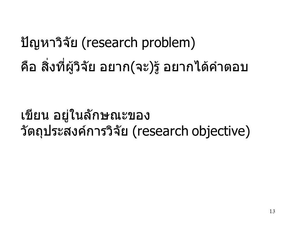 13 ปัญหาวิจัย (research problem) คือ สิ่งที่ผู้วิจัย อยาก(จะ)รู้ อยากได้คำตอบ เขียน อยู่ในลักษณะของ วัตถุประสงค์การวิจัย (research objective)