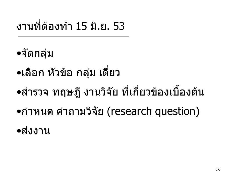 16 จัดกลุ่ม เลือก หัวข้อ กลุ่ม เดี่ยว สำรวจ ทฤษฎี งานวิจัย ที่เกี่ยวข้องเบื้องต้น กำหนด คำถามวิจัย (research question) ส่งงาน งานที่ต้องทำ 15 มิ.ย. 53