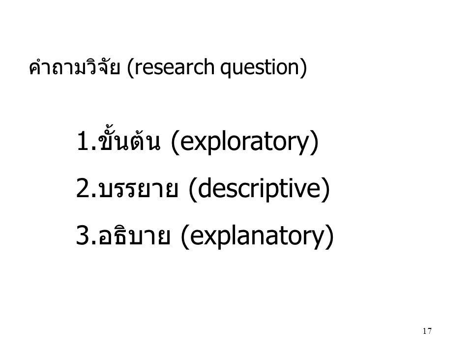 17 คำถามวิจัย (research question) 1.ขั้นต้น (exploratory) 2.บรรยาย (descriptive) 3.อธิบาย (explanatory)