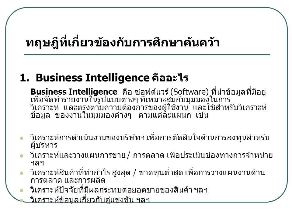 ทฤษฎีที่เกี่ยวข้องกับการศึกษาค้นคว้า 1. Business Intelligence คืออะไร Business Intelligence คือ ซอฟต์แวร์ (Software) ที่นำข้อมูลที่มีอยู่ เพื่อจัดทำรา