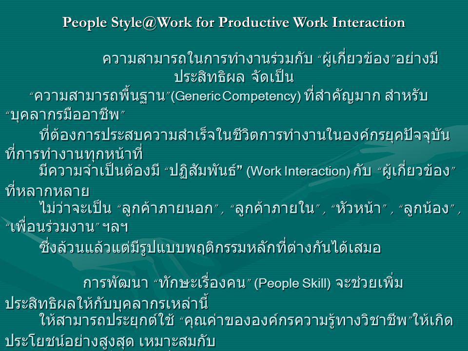 People Style@Work for Productive Work Interaction ความสามารถในการทำงานร่วมกับ ผู้เกี่ยวข้อง อย่างมี ประสิทธิผล จัดเป็น ความสามารถในการทำงานร่วมกับ ผู้เกี่ยวข้อง อย่างมี ประสิทธิผล จัดเป็น ความสามารถพื้นฐาน (Generic Competency) ที่สำคัญมาก สำหรับ บุคลากรมืออาชีพ ความสามารถพื้นฐาน (Generic Competency) ที่สำคัญมาก สำหรับ บุคลากรมืออาชีพ ที่ต้องการประสบความสำเร็จในชีวิตการทำงานในองค์กรยุคปัจจุบัน ที่การทำงานทุกหน้าที่ ที่ต้องการประสบความสำเร็จในชีวิตการทำงานในองค์กรยุคปัจจุบัน ที่การทำงานทุกหน้าที่ มีความจำเป็นต้องมี ปฏิสัมพันธ์ (Work Interaction) กับ ผู้เกี่ยวข้อง ที่หลากหลาย มีความจำเป็นต้องมี ปฏิสัมพันธ์ (Work Interaction) กับ ผู้เกี่ยวข้อง ที่หลากหลาย ไม่ว่าจะเป็น ลูกค้าภายนอก , ลูกค้าภายใน , หัวหน้า , ลูกน้อง , เพื่อนร่วมงาน ฯลฯ ไม่ว่าจะเป็น ลูกค้าภายนอก , ลูกค้าภายใน , หัวหน้า , ลูกน้อง , เพื่อนร่วมงาน ฯลฯ ซึ่งล้วนแล้วแต่มีรูปแบบพฤติกรรมหลักที่ต่างกันได้เสมอ ซึ่งล้วนแล้วแต่มีรูปแบบพฤติกรรมหลักที่ต่างกันได้เสมอ การพัฒนา ทักษะเรื่องคน (People Skill) จะช่วยเพิ่ม ประสิทธิผลให้กับบุคลากรเหล่านี้ การพัฒนา ทักษะเรื่องคน (People Skill) จะช่วยเพิ่ม ประสิทธิผลให้กับบุคลากรเหล่านี้ ให้สามารถประยุกต์ใช้ คุณค่าขององค์กรความรู้ทางวิชาชีพ ให้เกิด ประโยชน์อย่างสูงสุด เหมาะสมกับ ให้สามารถประยุกต์ใช้ คุณค่าขององค์กรความรู้ทางวิชาชีพ ให้เกิด ประโยชน์อย่างสูงสุด เหมาะสมกับ สถานการณ์และ ผู้เกียวข้อง สถานการณ์และ ผู้เกียวข้อง People Style @ Work For ProDuctive Work Interaction People Style @ Work For ProDuctive Work Interaction คือ กิจกรรมเพื่อสนับสนุนการพัฒนา ทักษะเรื่องคน (People Skill) สำหรับบุคลากรในองค์กร คือ กิจกรรมเพื่อสนับสนุนการพัฒนา ทักษะเรื่องคน (People Skill) สำหรับบุคลากรในองค์กร ให้สามารถปฏิบัติงานร่วมกับ ผู้ที่มีส่วนเกี่ยวข้องต่างๆ ทั้งภายใน และภายนอก ได้อย่างมีประสิทธิผลที่ ให้สามารถปฏิบัติงานร่วมกับ ผู้ที่มีส่วนเกี่ยวข้องต่างๆ ทั้งภายใน และภายนอก ได้อย่างมีประสิทธิผลที่ ดี ทั้งด้านงานและความสัมพันธ์ ดี ทั้งด้านงานและความสัมพันธ์