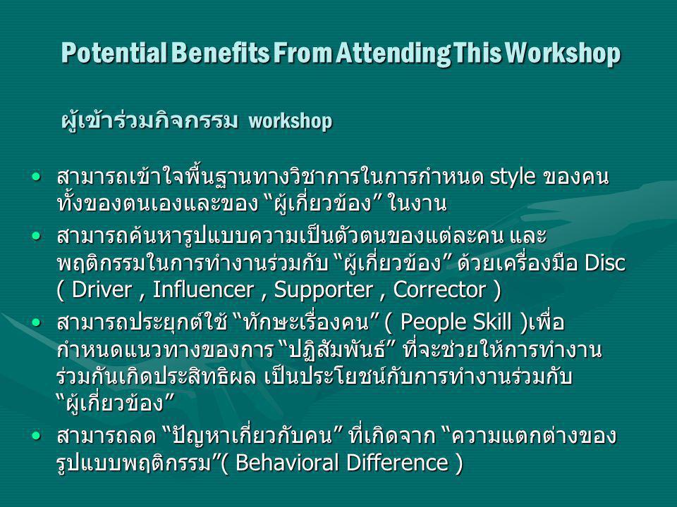 Potential Benefits From Attending This Workshop ผู้เข้าร่วมกิจกรรม workshop สามารถเข้าใจพื้นฐานทางวิชาการในการกำหนด style ของคน ทั้งของตนเองและของ ผู้เกี่ยวข้อง ในงาน สามารถเข้าใจพื้นฐานทางวิชาการในการกำหนด style ของคน ทั้งของตนเองและของ ผู้เกี่ยวข้อง ในงาน สามารถค้นหารูปแบบความเป็นตัวตนของแต่ละคน และ พฤติกรรมในการทำงานร่วมกับ ผู้เกี่ยวข้อง ด้วยเครื่องมือ Disc ( Driver, Influencer, Supporter, Corrector ) สามารถค้นหารูปแบบความเป็นตัวตนของแต่ละคน และ พฤติกรรมในการทำงานร่วมกับ ผู้เกี่ยวข้อง ด้วยเครื่องมือ Disc ( Driver, Influencer, Supporter, Corrector ) สามารถประยุกต์ใช้ ทักษะเรื่องคน ( People Skill ) เพื่อ กำหนดแนวทางของการ ปฏิสัมพันธ์ ที่จะช่วยให้การทำงาน ร่วมกันเกิดประสิทธิผล เป็นประโยชน์กับการทำงานร่วมกับ ผู้เกี่ยวข้อง สามารถประยุกต์ใช้ ทักษะเรื่องคน ( People Skill ) เพื่อ กำหนดแนวทางของการ ปฏิสัมพันธ์ ที่จะช่วยให้การทำงาน ร่วมกันเกิดประสิทธิผล เป็นประโยชน์กับการทำงานร่วมกับ ผู้เกี่ยวข้อง สามารถลด ปัญหาเกี่ยวกับคน ที่เกิดจาก ความแตกต่างของ รูปแบบพฤติกรรม ( Behavioral Difference ) สามารถลด ปัญหาเกี่ยวกับคน ที่เกิดจาก ความแตกต่างของ รูปแบบพฤติกรรม ( Behavioral Difference )
