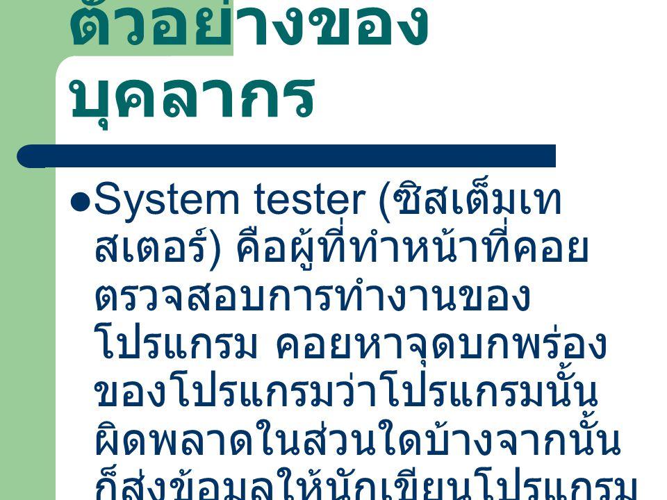 ตัวอย่างของ บุคลากร System tester ( ซิสเต็มเท สเตอร์ ) คือผู้ที่ทำหน้าที่คอย ตรวจสอบการทำงานของ โปรแกรม คอยหาจุดบกพร่อง ของโปรแกรมว่าโปรแกรมนั้น ผิดพล