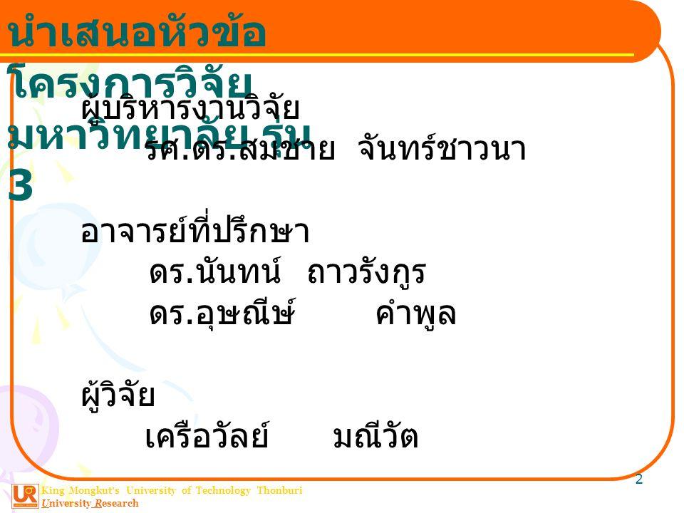 King Mongkut ' s University of Technology Thonburi University Research นำเสนอหัวข้อ โครงการวิจัย มหาวิทยาลัย รุ่น 3 2 ผู้บริหารงานวิจัย รศ.