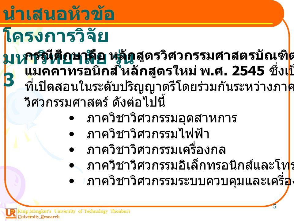King Mongkut ' s University of Technology Thonburi University Research นำเสนอหัวข้อ โครงการวิจัย มหาวิทยาลัย รุ่น 3 5 กรณีศึกษาคือ หลักสูตรวิศวกรรมศาสตรบัณฑิต สาขาวิชาวิศวกรรม แมคคาทรอนิกส์ หลักสูตรใหม่ พ.