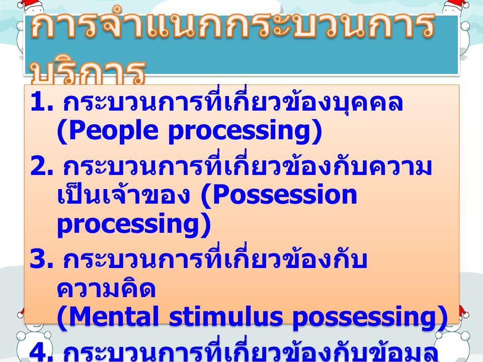 1. กระบวนการที่เกี่ยวข้องบุคคล (People processing) 2. กระบวนการที่เกี่ยวข้องกับความ เป็นเจ้าของ (Possession processing) 3. กระบวนการที่เกี่ยวข้องกับ ค