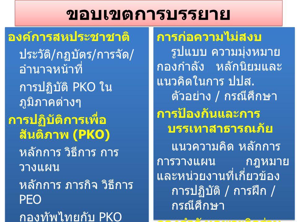 ขอบเขตการบรรยาย องค์การสหประชาชาติ ประวัติ / กฏบัตร / การจัด / อำนาจหน้าที่ การปฏิบัติ PKO ใน ภูมิภาคต่างๆ การปฏิบัติการเพื่อ สันติภาพ (PKO) หลักการ ว
