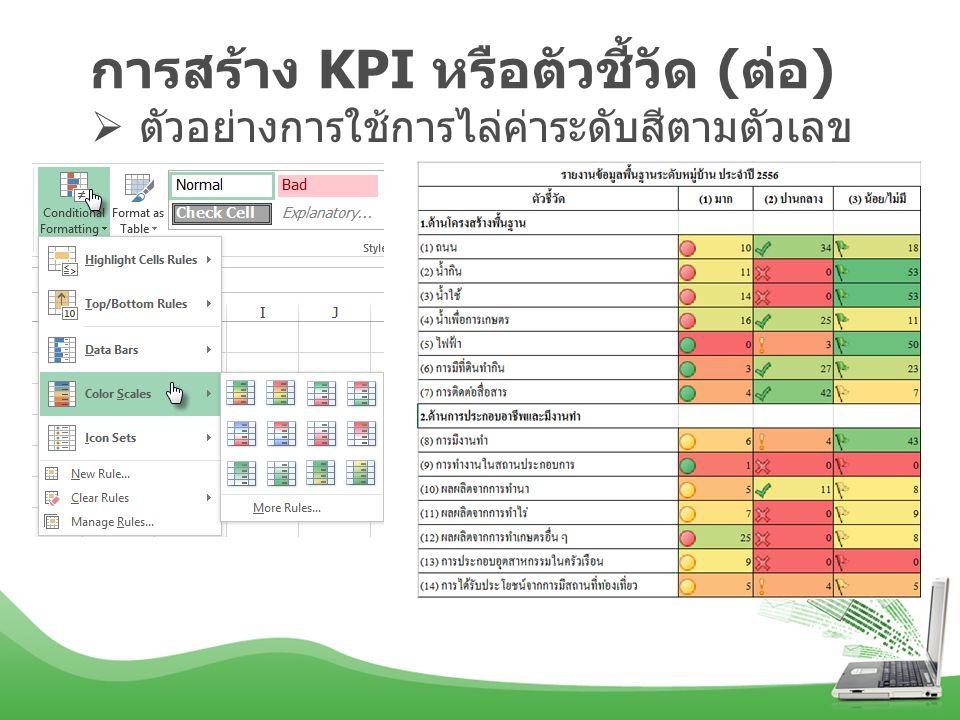 การสร้าง KPI หรือตัวชี้วัด ( ต่อ )  ตัวอย่างการใช้การไล่ค่าระดับสีตามตัวเลข