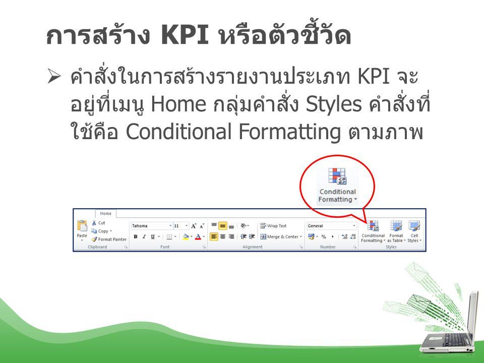 การสร้าง KPI หรือตัวชี้วัด  คำสั่งในการสร้างรายงานประเภท KPI จะ อยู่ที่เมนู Home กลุ่มคำสั่ง Styles คำสั่งที่ ใช้คือ Conditional Formatting ตามภาพ ด้