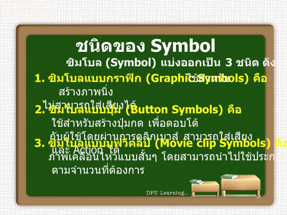 ชนิดของ Symbol ซิมโบล (Symbol) แบ่งออกเป็น 3 ชนิด ดังนี้ 1. ซิมโบลแบบกราฟิก (Graphic Symbols) คือ ใช้สำหรับ สร้างภาพนิ่ง ไม่สามารถใส่เสียงได้ 2. ซิมโบ
