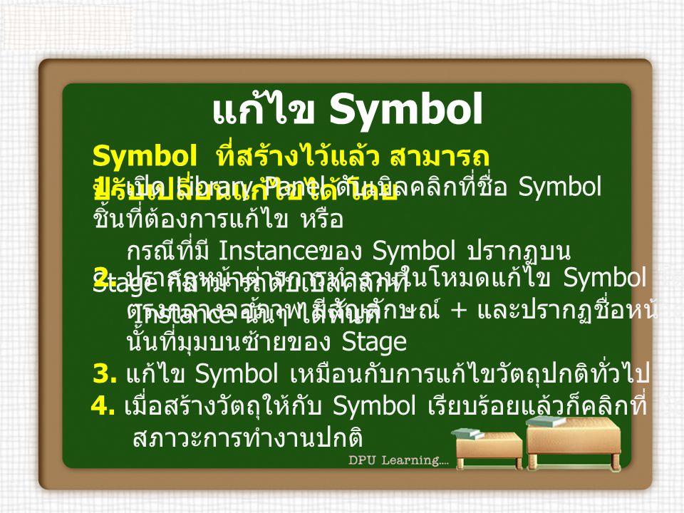 แก้ไข Symbol Symbol ที่สร้างไว้แล้ว สามารถ ปรับเปลี่ยนแก้ไขได้ โดย 1. เปิด Library Panel ดับเบิลคลิกที่ชื่อ Symbol ชิ้นที่ต้องการแก้ไข หรือ กรณีที่มี