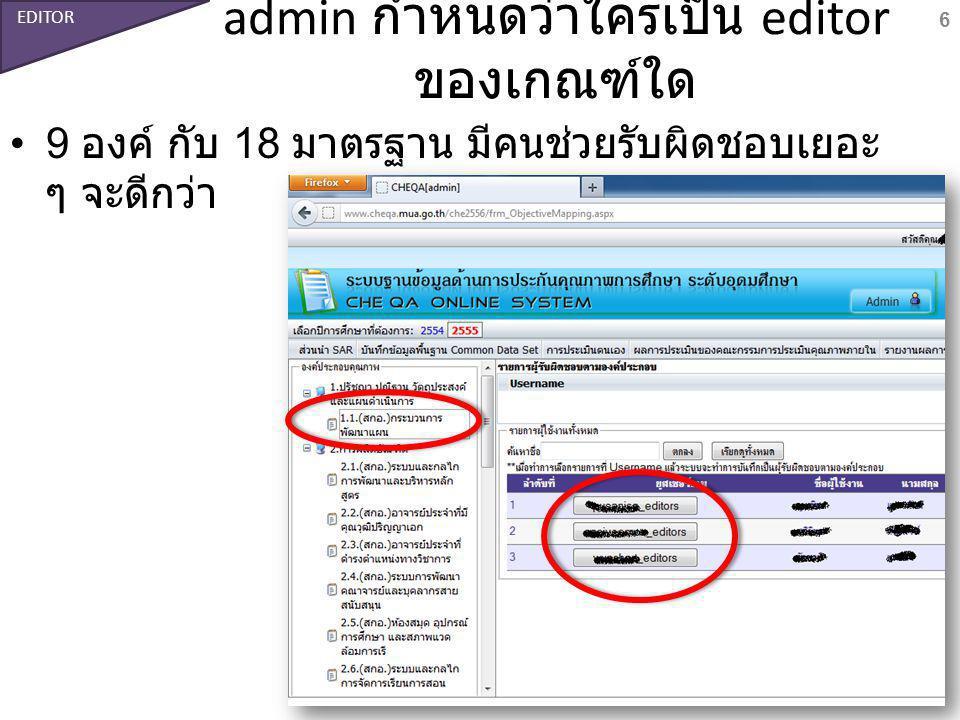admin กำหนดว่าใครเป็น editor ของเกณฑ์ใด 9 องค์ กับ 18 มาตรฐาน มีคนช่วยรับผิดชอบเยอะ ๆ จะดีกว่า 6 EDITOR