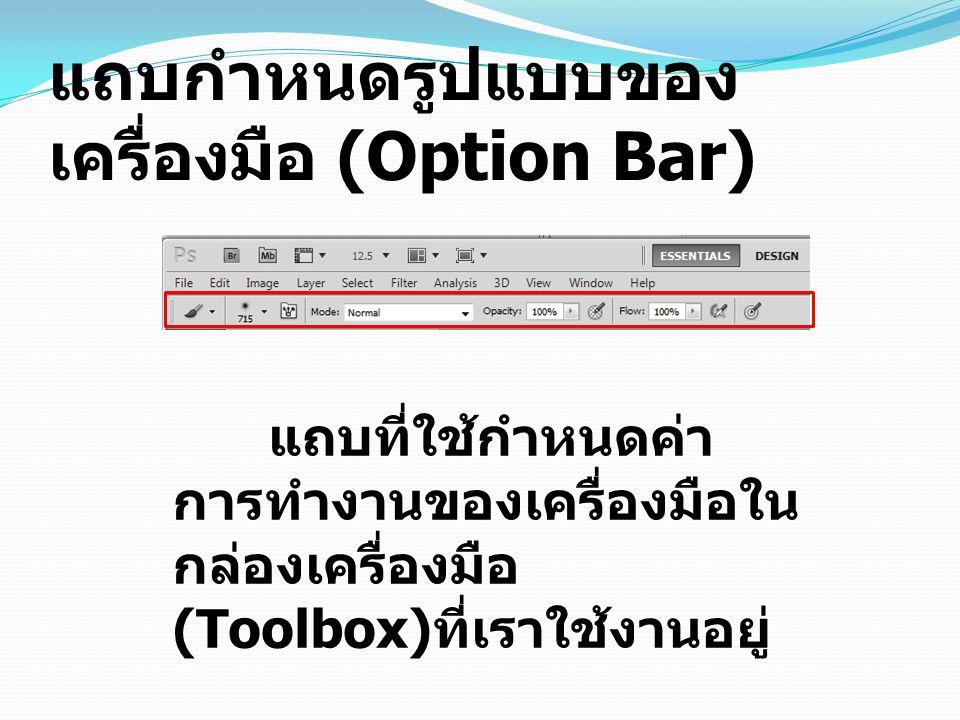 แถบกำหนดรูปแบบของ เครื่องมือ (Option Bar) แถบที่ใช้กำหนดค่า การทำงานของเครื่องมือใน กล่องเครื่องมือ (Toolbox) ที่เราใช้งานอยู่