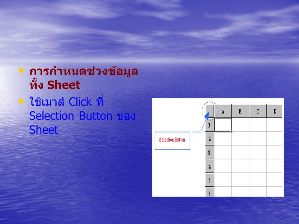 การกำหนดช่วงข้อมูล ทั้ง Sheet ใช้เมาส์ Click ที่ Selection Button ของ Sheet