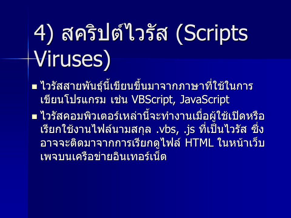 4) สคริปต์ไวรัส (Scripts Viruses) ไวรัสสายพันธุ์นี้เขียนขึ้นมาจากภาษาที่ใช้ในการ เขียนโปรแกรม เช่น VBScript, JavaScript ไวรัสสายพันธุ์นี้เขียนขึ้นมาจา