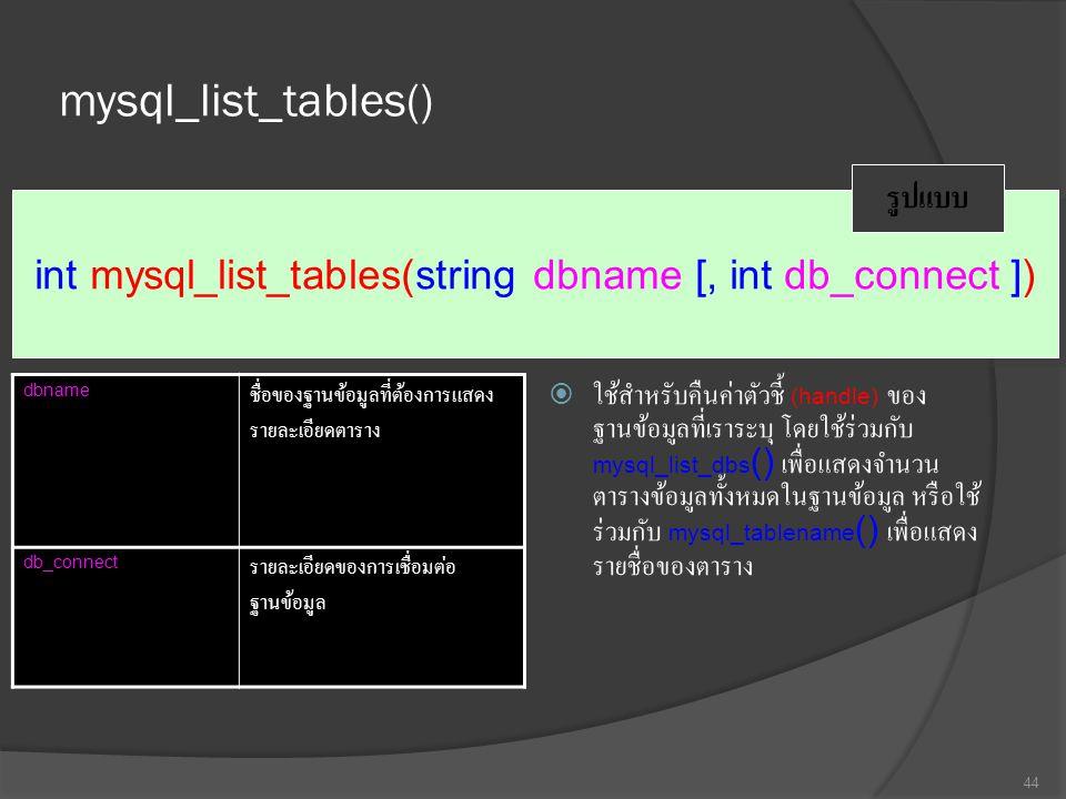 mysql_list_tables()  ใช้สำหรับคืนค่าตัวชี้ (handle) ของ ฐานข้อมูลที่เราระบุ โดยใช้ร่วมกับ mysql_list_dbs () เพื่อแสดงจำนวน ตารางข้อมูลทั้งหมดในฐานข้อมูล หรือใช้ ร่วมกับ mysql_tablename () เพื่อแสดง รายชื่อของตาราง 44 int mysql_list_tables(string dbname [, int db_connect ]) รูปแบบ dbname ชื่อของฐานข้อมูลที่ต้องการแสดง รายละเอียดตาราง db_connect รายละเอียดของการเชื่อมต่อ ฐานข้อมูล
