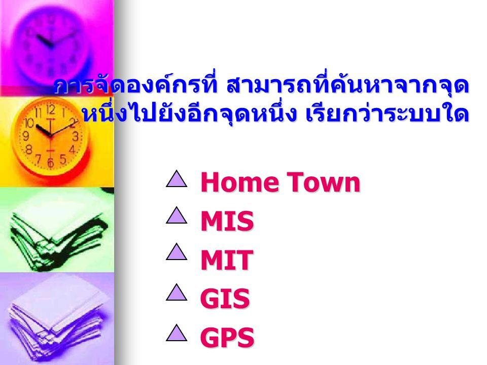 การจัดองค์กรที่ สามารถที่ค้นหาจากจุด หนึ่งไปยังอีกจุดหนึ่ง เรียกว่าระบบใด Home Town MISMITGISGPS