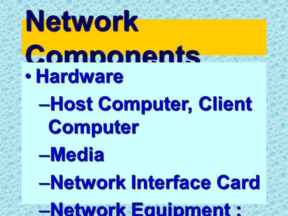 Network Components HardwareHardware –Host Computer, Client Computer –Media –Network Interface Card –Network Equipment : Hub, Switching
