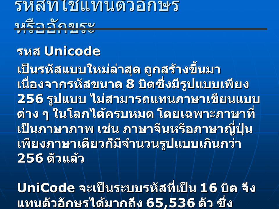 รหัสที่ใช้แทนตัวอักษร หรืออักขระ รหส Unicode เป็นรหัสแบบใหม่ล่าสุด ถูกสร้างขึ้นมา เนื่องจากรหัสขนาด 8 บิตซึ่งมีรูปแบบเพียง 256 รูปแบบ ไม่สามารถแทนภาษาเขียนแบบ ต่าง ๆ ในโลกได้ครบหมด โดยเฉพาะภาษาที่ เป็นภาษาภาพ เช่น ภาษาจีนหรือภาษาญี่ปุ่น เพียงภาษาเดียวก็มีจำนวนรูปแบบเกินกว่า 256 ตัวแล้ว UniCode จะเป็นระบบรหัสที่เป็น 16 บิต จึง แทนตัวอักษรได้มากถึง 65,536 ตัว ซึ่ง เพียงพอสำหรับตัวอักษรและสัญลักษณ์ กราฟฟิกโดยทั่วไป รวมทั้งสัญลักษณ์ทาง คณิตศาสตร์ต่าง ๆ