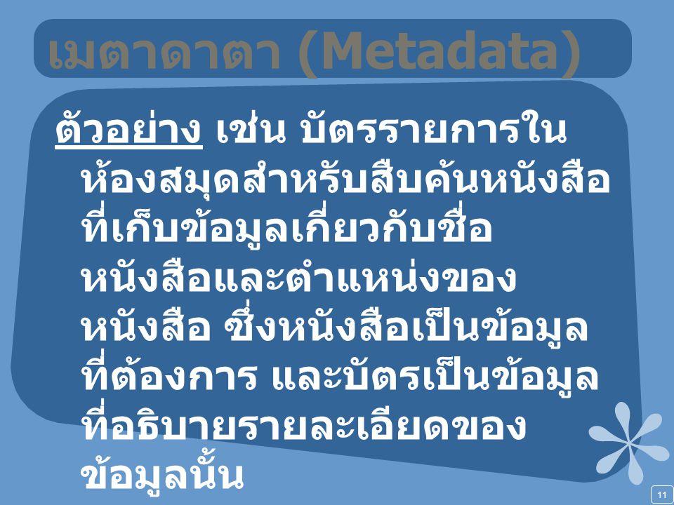 11 เมตาดาตา (Metadata) ตัวอย่าง เช่น บัตรรายการใน ห้องสมุดสำหรับสืบค้นหนังสือ ที่เก็บข้อมูลเกี่ยวกับชื่อ หนังสือและตำแหน่งของ หนังสือ ซึ่งหนังสือเป็นข้อมูล ที่ต้องการ และบัตรเป็นข้อมูล ที่อธิบายรายละเอียดของ ข้อมูลนั้น