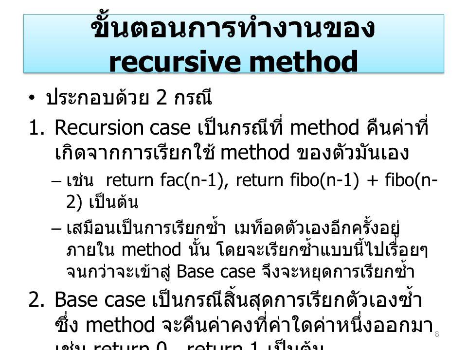 ขั้นตอนการทำงานของ recursive method ประกอบด้วย 2 กรณี 1.Recursion case เป็นกรณีที่ method คืนค่าที่ เกิดจากการเรียกใช้ method ของตัวมันเอง – เช่น retu