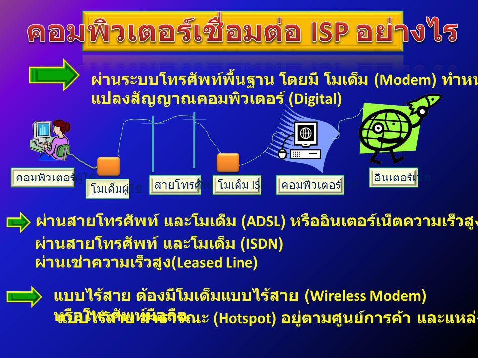 ผ่านระบบโทรศัพท์พื้นฐาน โดยมี โมเด็ม (Modem) ทำหน้าที่ แปลงสัญญาณคอมพิวเตอร์ (Digital) คอมพิวเตอร์ผู้ใช้ โมเด็มผู้ใช้ สายโทรศัพท์คอมพิวเตอร์ ISP โมเด็