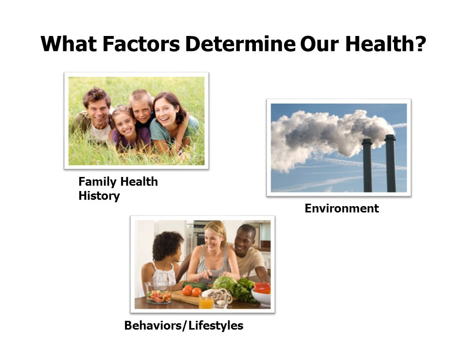 What Factors Determine Our Health? Family Health History Behaviors/Lifestyles Environment