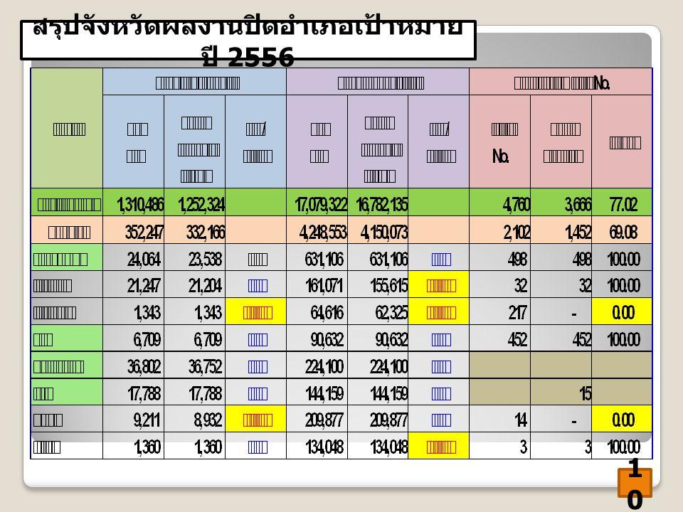 สรุปจังหวัดผลงานปิดอำเภอเป้าหมาย ปี 2556 1010