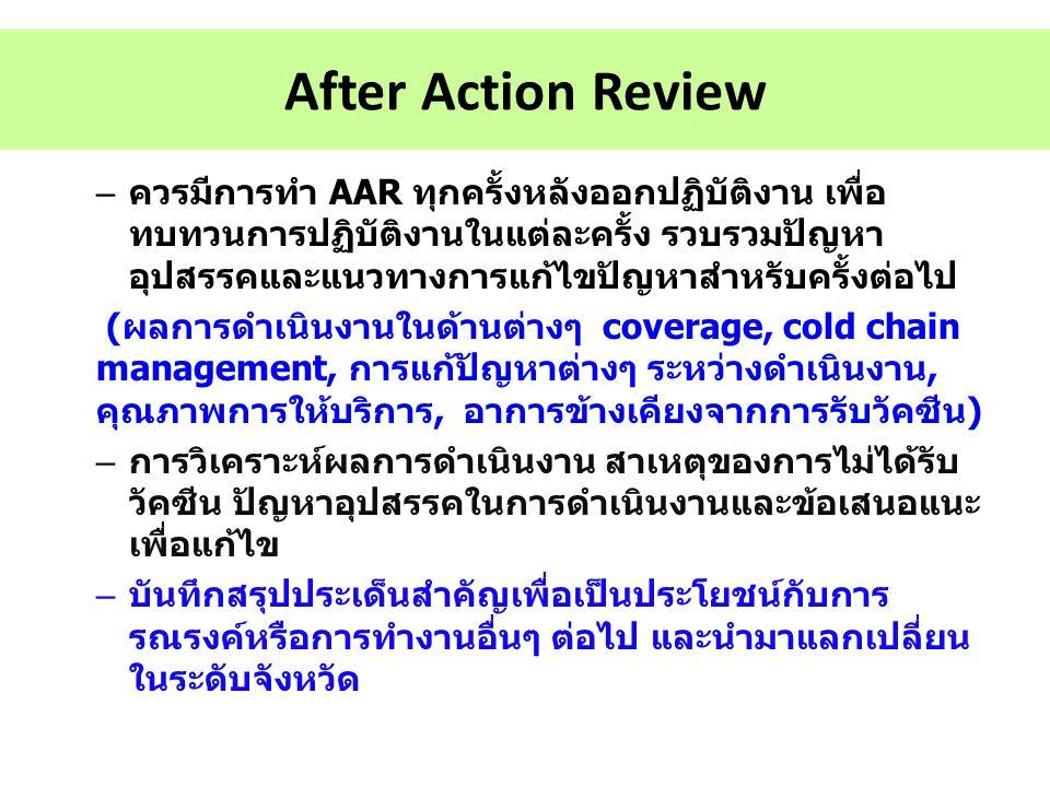 After Action Review – ควรมีการทำ AAR ทุกครั้งหลังออกปฏิบัติงาน เพื่อ ทบทวนการปฏิบัติงานในแต่ละครั้ง รวบรวมปัญหา อุปสรรคและแนวทางการแก้ไขปัญหาสำหรับครั
