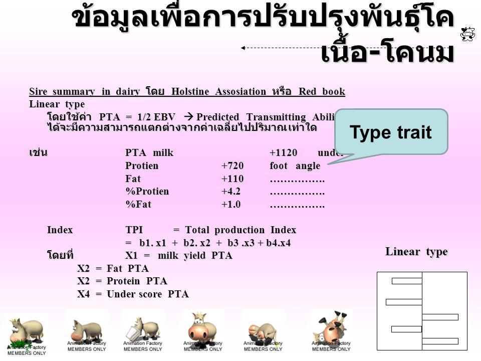 ข้อมูลเพื่อการปรับปรุงพันธุ์โค เนื้อ - โคนม Sire summary in dairy โดย Holstine Assosiation หรือ Red book Linear type โดยใช้ค่า PTA = 1/2 EBV  Predict
