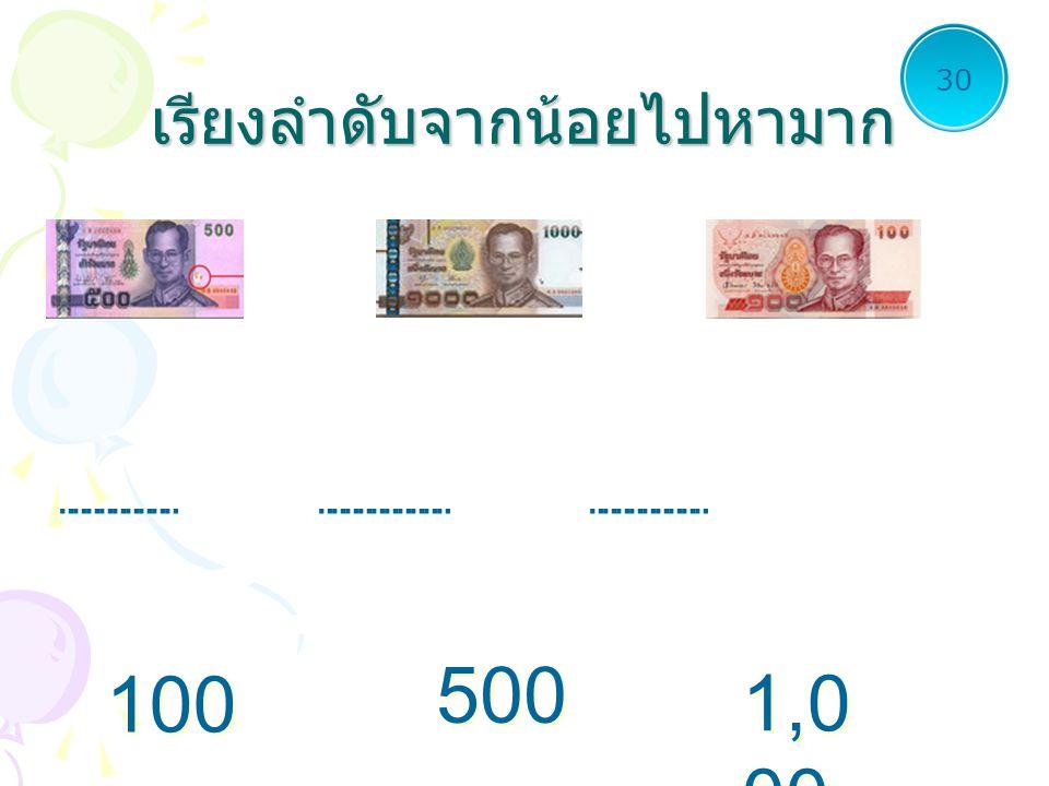 เรียงลำดับจากน้อยไปหามาก............................ 30 100............................ 500 1,0 00