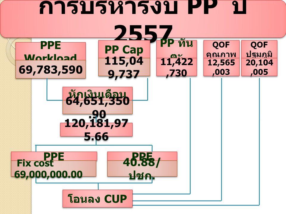 การบริหารงบ PP ปี 2557 PPE Workload 69,783,590 PP Cap 115,04 9,737 หักเงินเดือน 64,651,350.90 PPE Fix cost 69,000,000.00 PPE 40.88/ ปชก.