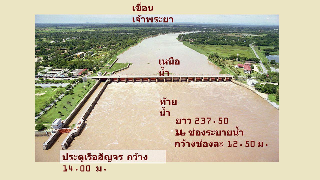 เขื่อน เจ้าพระยา 16 ช่องระบายน้ำ กว้างช่องละ 12.50 ม. ท้าย น้ำ เหนือ น้ำ ยาว 237.50 ม. ประตูเรือสัญจร กว้าง 14.00 ม.