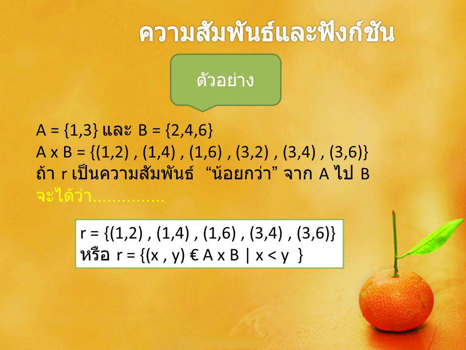 4) โดเมนและเรนจ์ของความสัมพันธ์ บทนิยาม ให้ r เป็นความสัมพันธ์ โดเมน r : เซตของสมาชิกตัวหน้าของคู่อันดับใน r เขียนแทนด้วย D เรนจ์ของ r : เซตของสมาชิกตัวหลังของคู่อันดับ ใน r เขียนแทนด้วย R เขียน D และ R ในรูปเซตแบบบอก เงื่อนไข ได้ดังนี้ D = {x | (x, y) € r } R = {y | (x, y) € r } ถ้า r = {(1,2),(1,4),(1,6),(3,4),(3,6) หรือ r = {(x,y)}€ A×B | x< y}