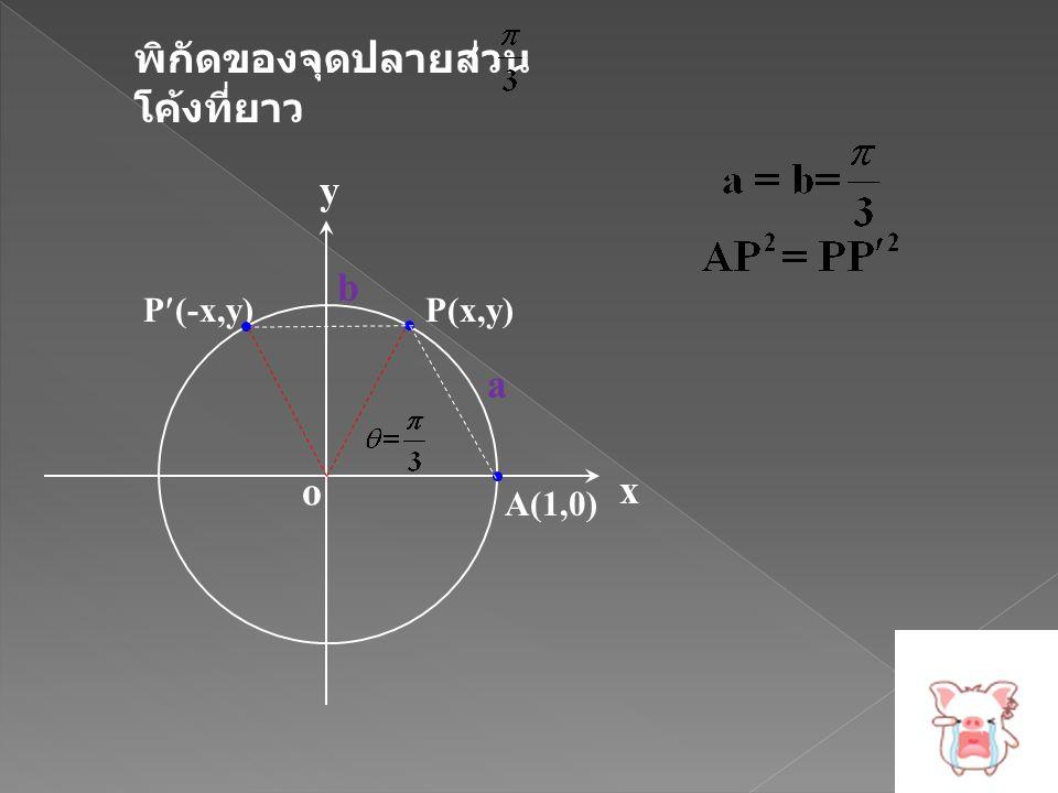 พิกัดของจุดปลายส่วน โค้งที่ยาว x y o P(x,y) A(1,0) P(-x,y) b a