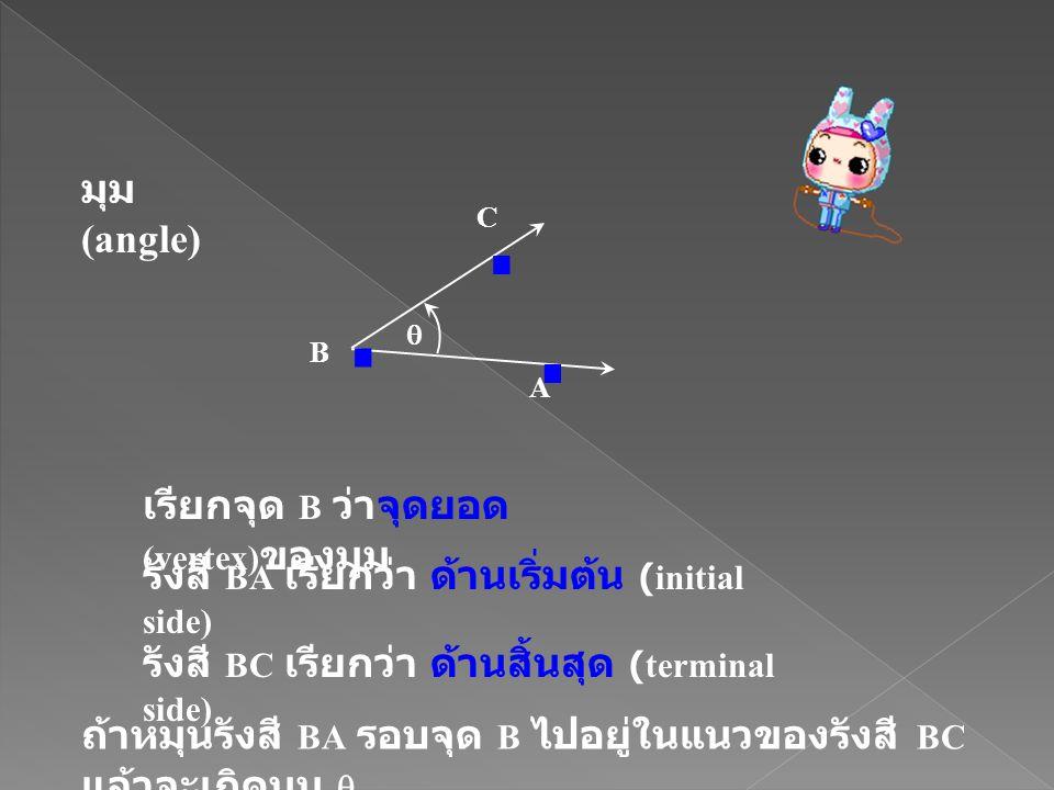 มุม (angle) เรียกจุด B ว่าจุดยอด (vertex) ของมุม รังสี BA เรียกว่า ด้านเริ่มต้น (initial side) รังสี BC เรียกว่า ด้านสิ้นสุด (terminal side)... A B C
