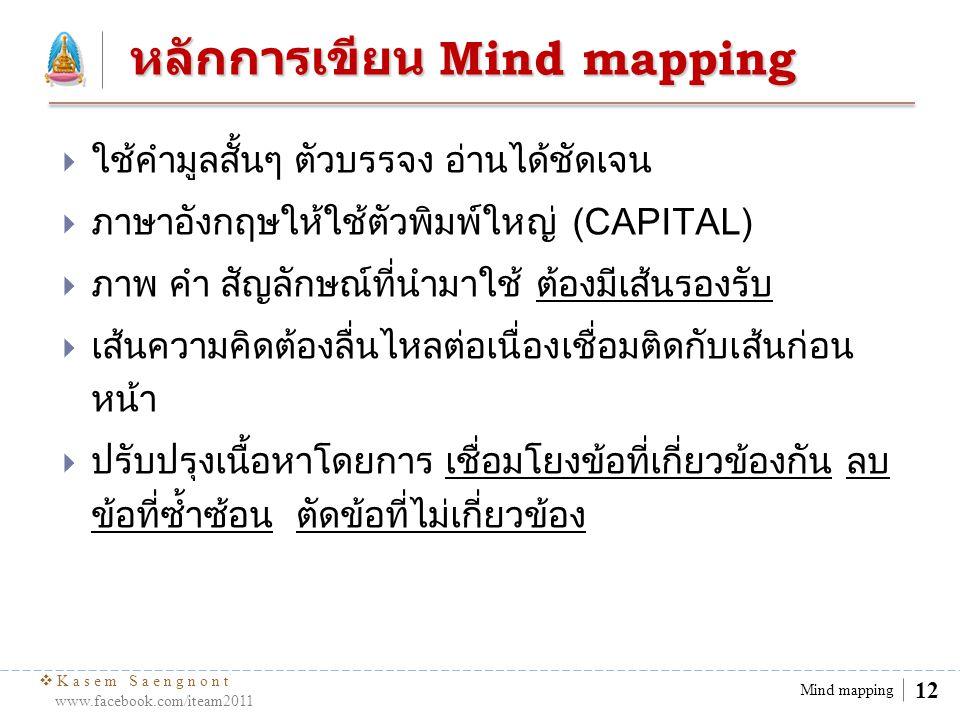  Kasem Saengnont www.facebook.com/iteam2011 12 Mind mapping หลักการเขียน Mind mapping  ใช้คำมูลสั้นๆ ตัวบรรจง อ่านได้ชัดเจน  ภาษาอังกฤษให้ใช้ตัวพิม