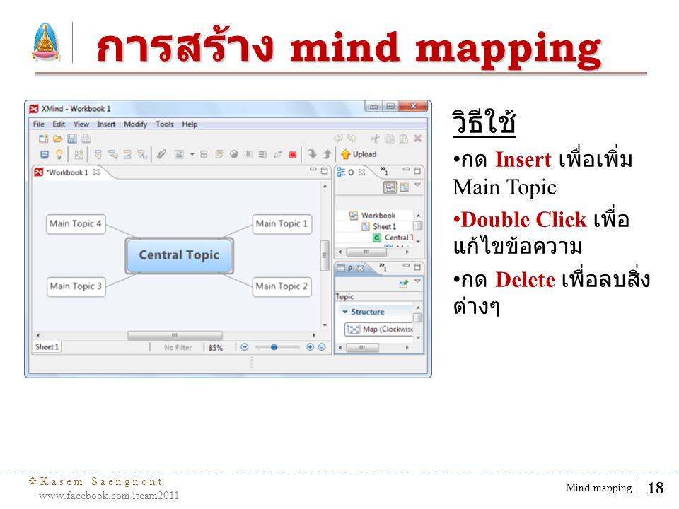  Kasem Saengnont www.facebook.com/iteam2011 18 Mind mapping การสร้าง mind mapping วิธีใช้ กด Insert เพื่อเพิ่ม Main Topic Double Click เพื่อ แก้ไขข้อ