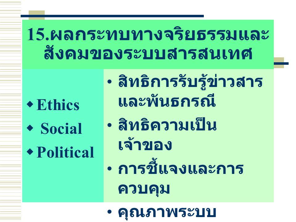 15. ผลกระทบทางจริยธรรมและ สังคมของระบบสารสนเทศ  Ethics  Social  Political สิทธิการรับรู้ข่าวสาร และพันธกรณี สิทธิความเป็น เจ้าของ การชี้แจงและการ ค
