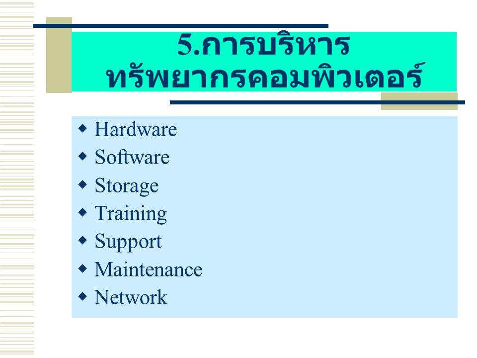 5. การบริหาร ทรัพยากรคอมพิวเตอร์  Hardware  Software  Storage  Training  Support  Maintenance  Network