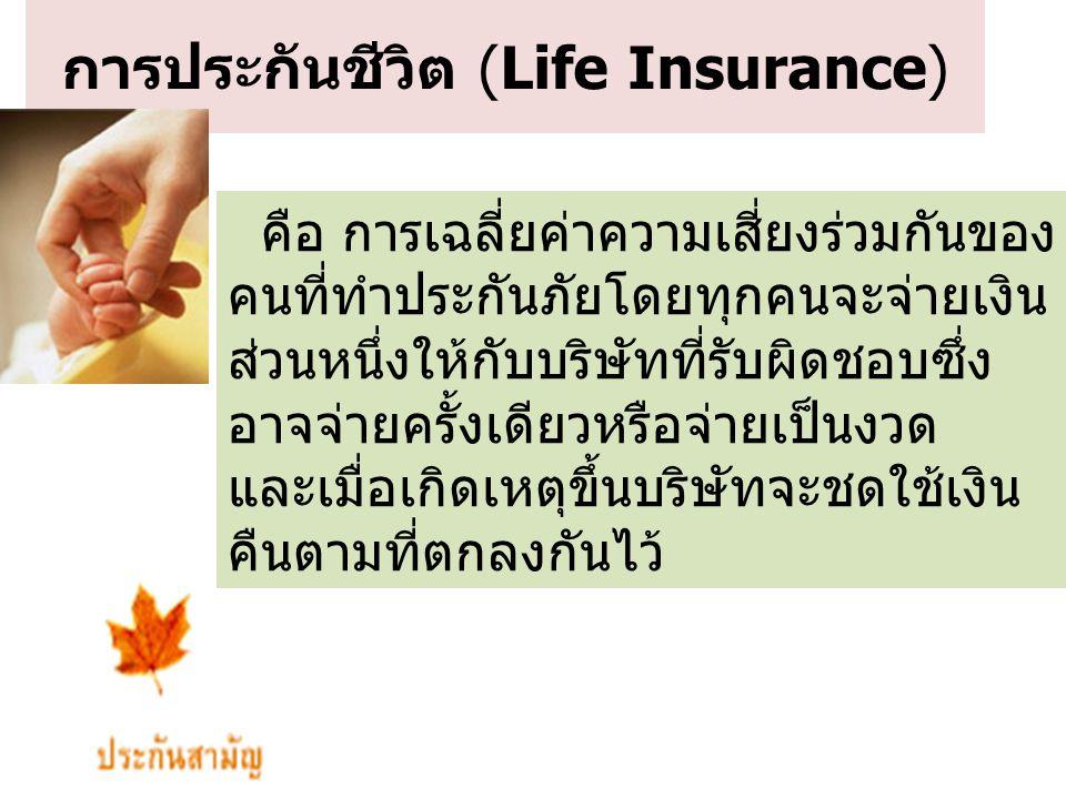 การประกันชีวิต (Life Insurance) คือ การเฉลี่ยค่าความเสี่ยงร่วมกันของ คนที่ทำประกันภัยโดยทุกคนจะจ่ายเงิน ส่วนหนึ่งให้กับบริษัทที่รับผิดชอบซึ่ง อาจจ่ายค